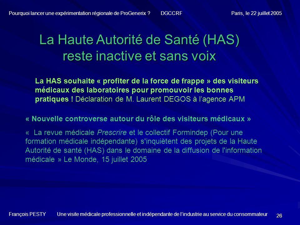 La Haute Autorité de Santé (HAS) reste inactive et sans voix