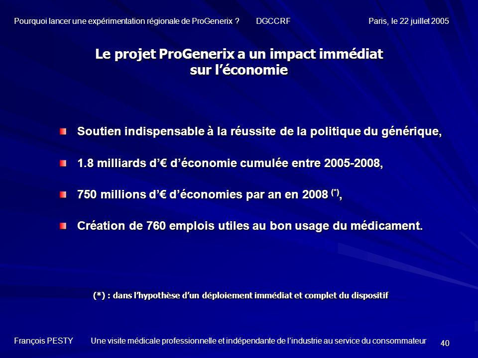 Le projet ProGenerix a un impact immédiat