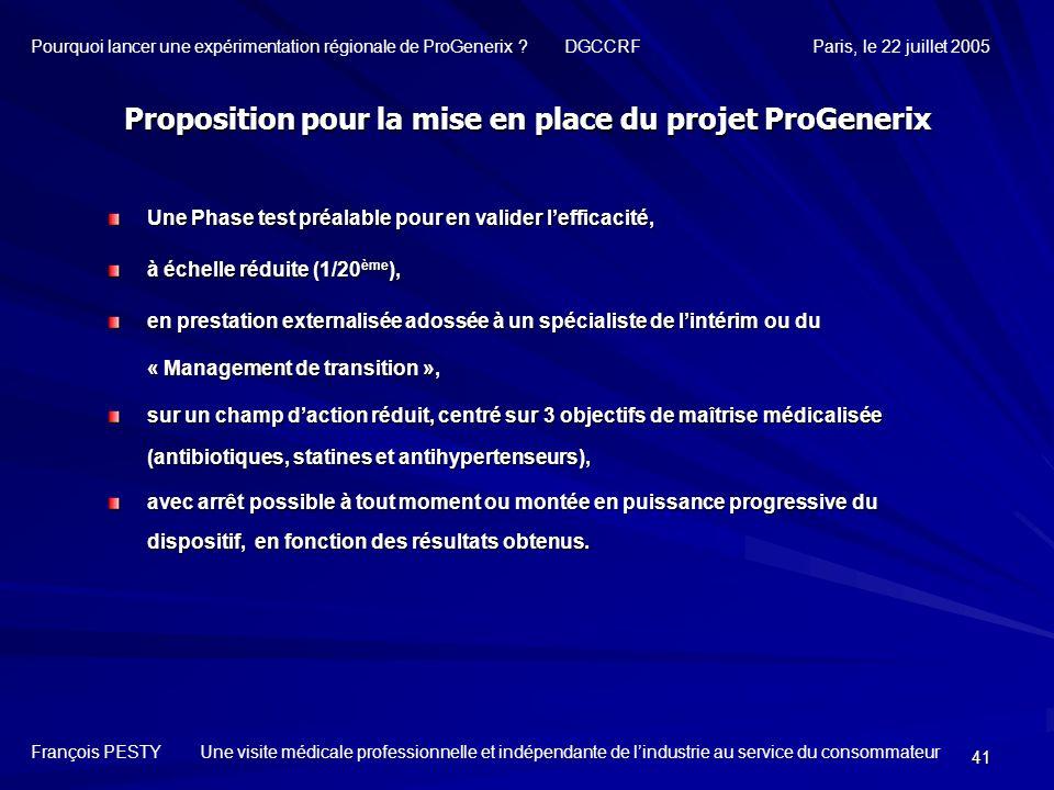 Proposition pour la mise en place du projet ProGenerix