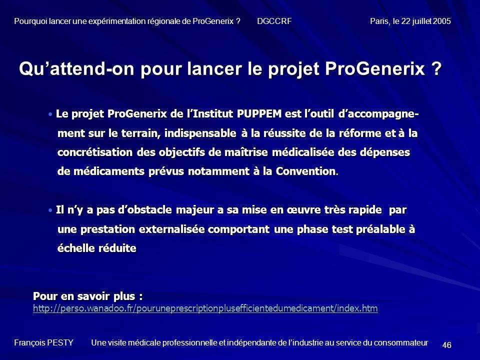 Qu'attend-on pour lancer le projet ProGenerix