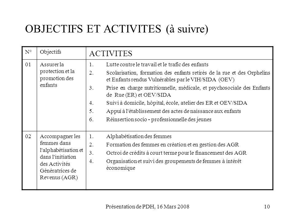 OBJECTIFS ET ACTIVITES (à suivre)