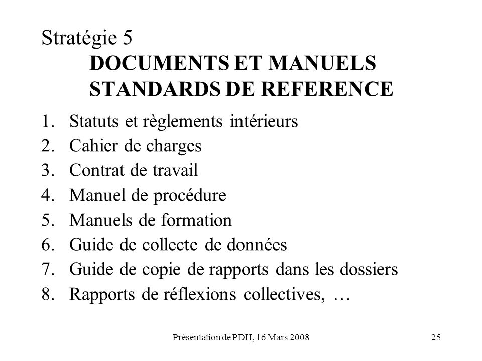 Stratégie 5 DOCUMENTS ET MANUELS STANDARDS DE REFERENCE