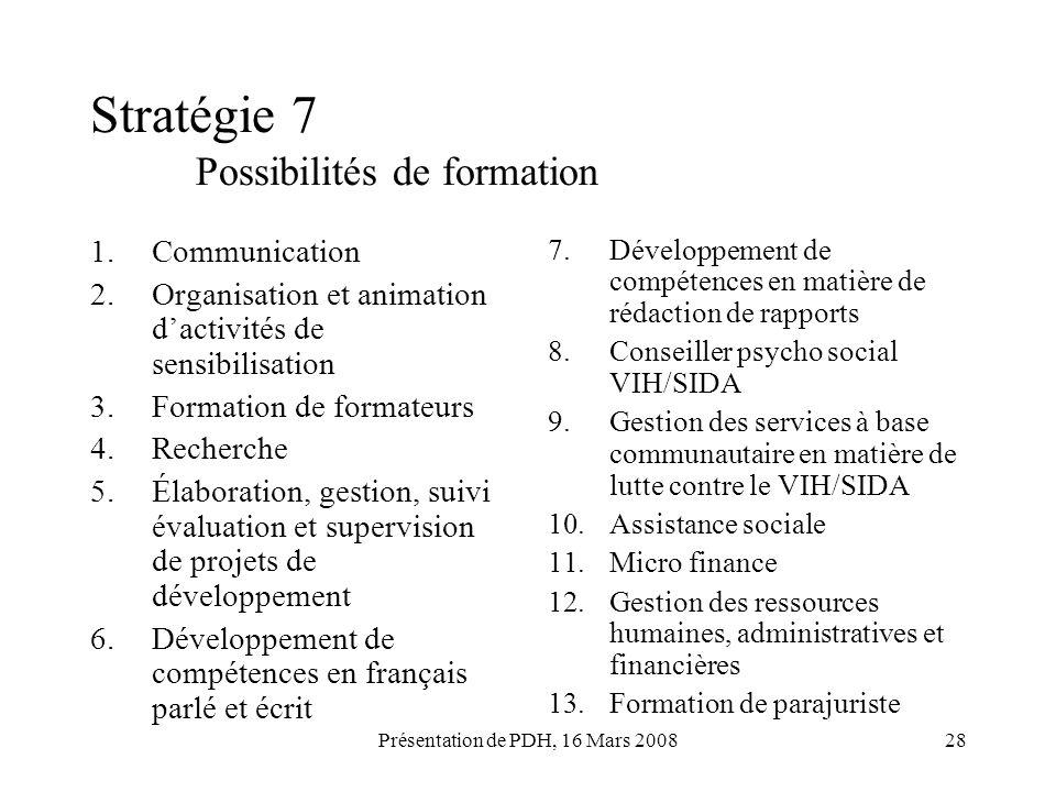 Stratégie 7 Possibilités de formation