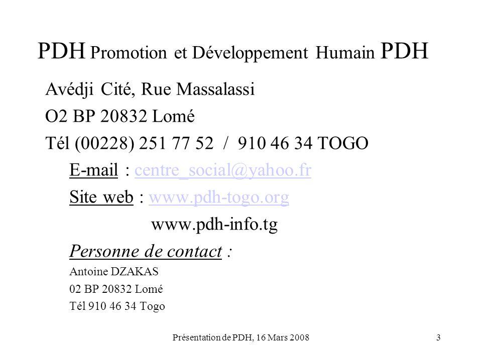 PDH Promotion et Développement Humain PDH