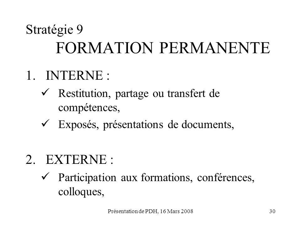 Stratégie 9 FORMATION PERMANENTE