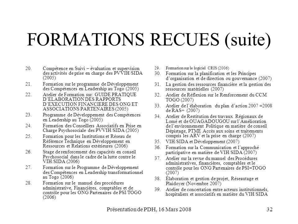 FORMATIONS RECUES (suite)
