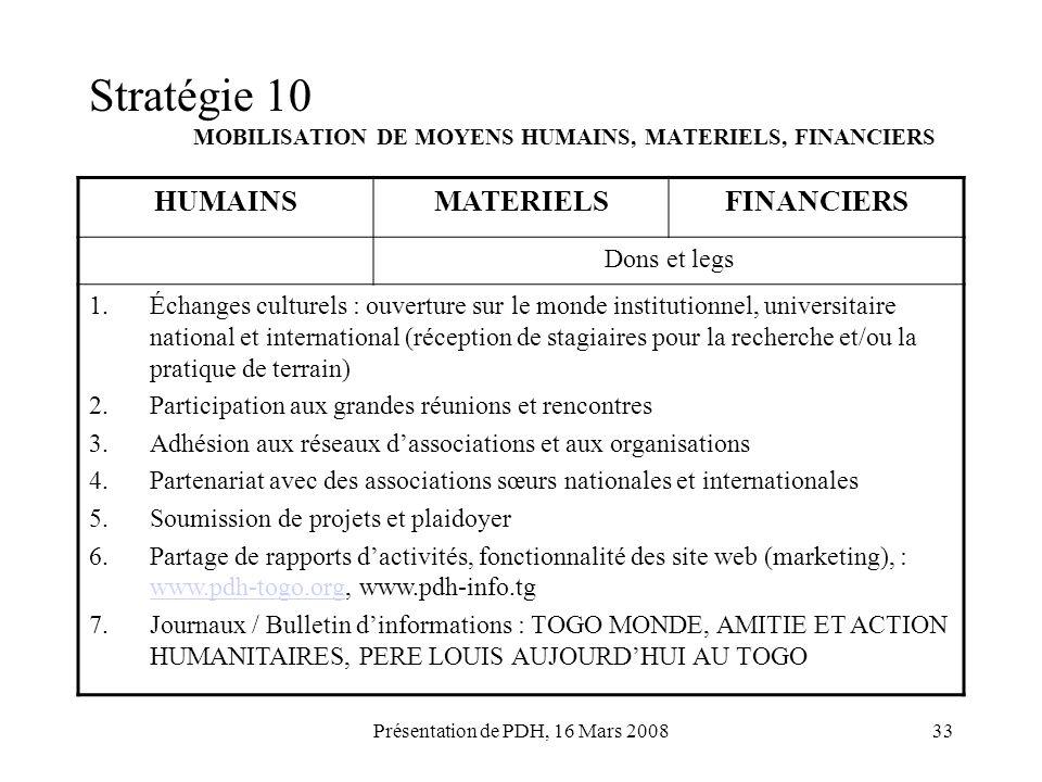 Stratégie 10 MOBILISATION DE MOYENS HUMAINS, MATERIELS, FINANCIERS
