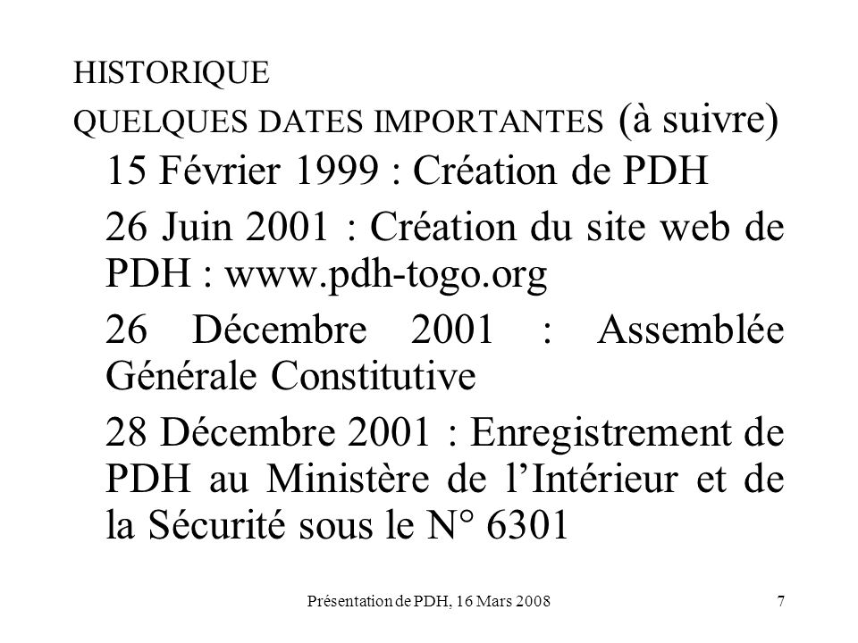 HISTORIQUE QUELQUES DATES IMPORTANTES (à suivre)