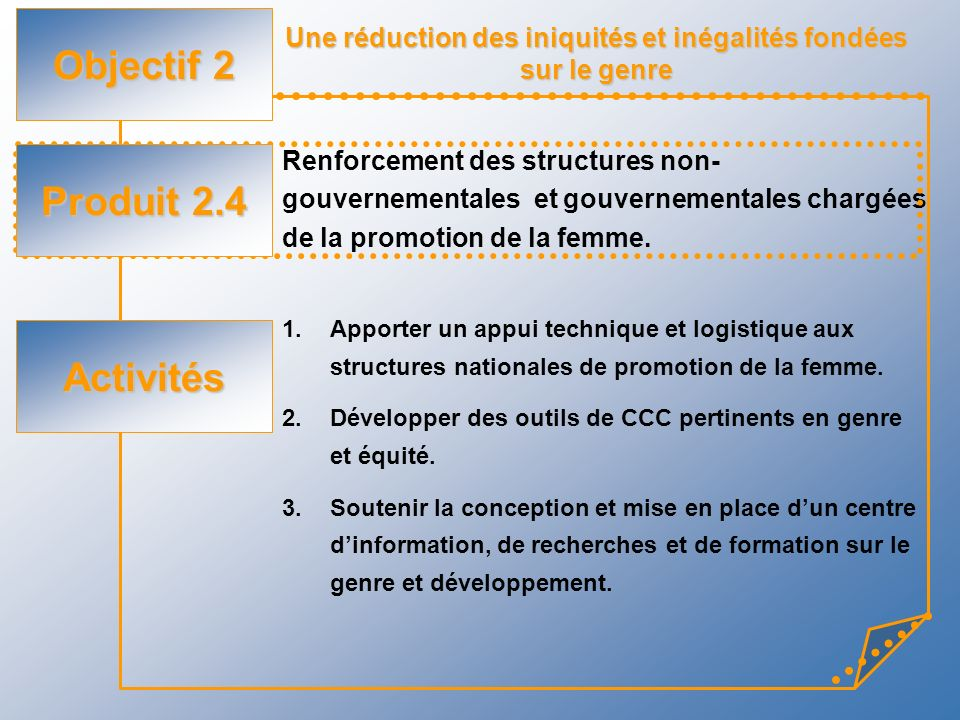 Une réduction des iniquités et inégalités fondées sur le genre