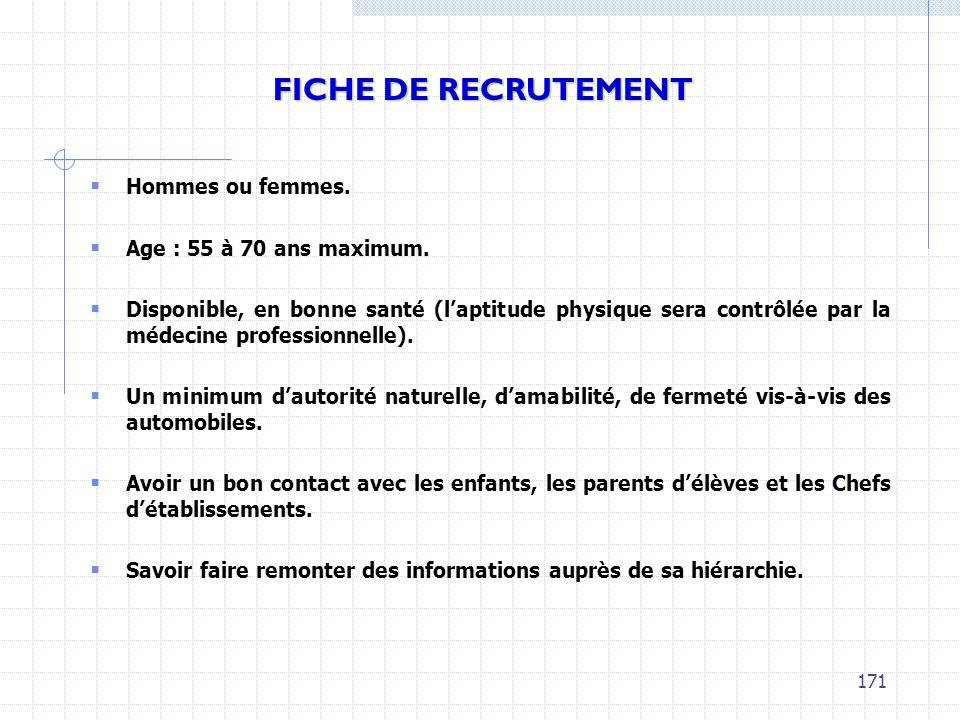 FICHE DE RECRUTEMENT Hommes ou femmes. Age : 55 à 70 ans maximum.