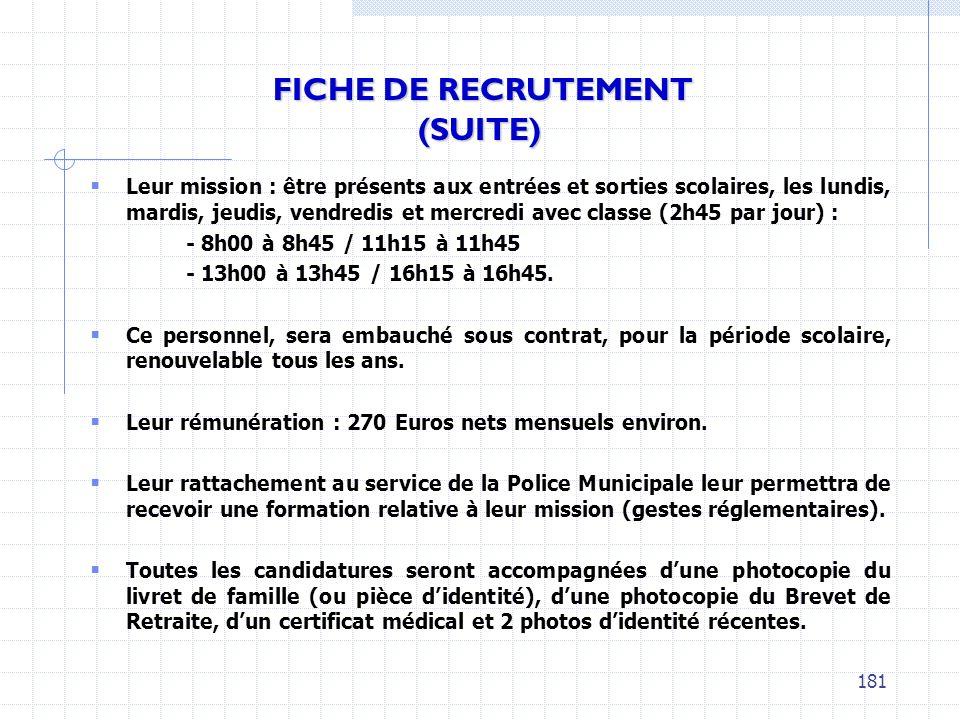 FICHE DE RECRUTEMENT (SUITE)