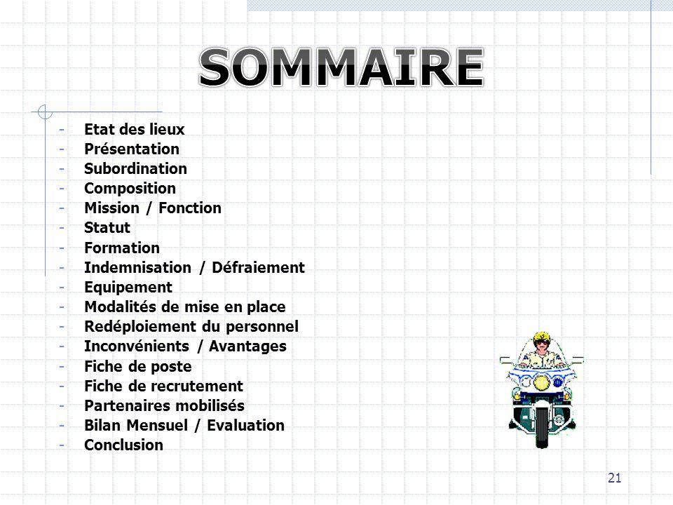 SOMMAIRE Etat des lieux Présentation Subordination Composition
