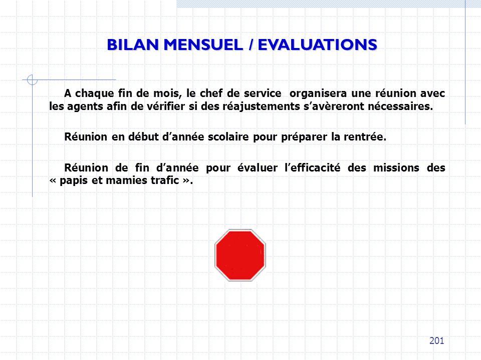BILAN MENSUEL / EVALUATIONS