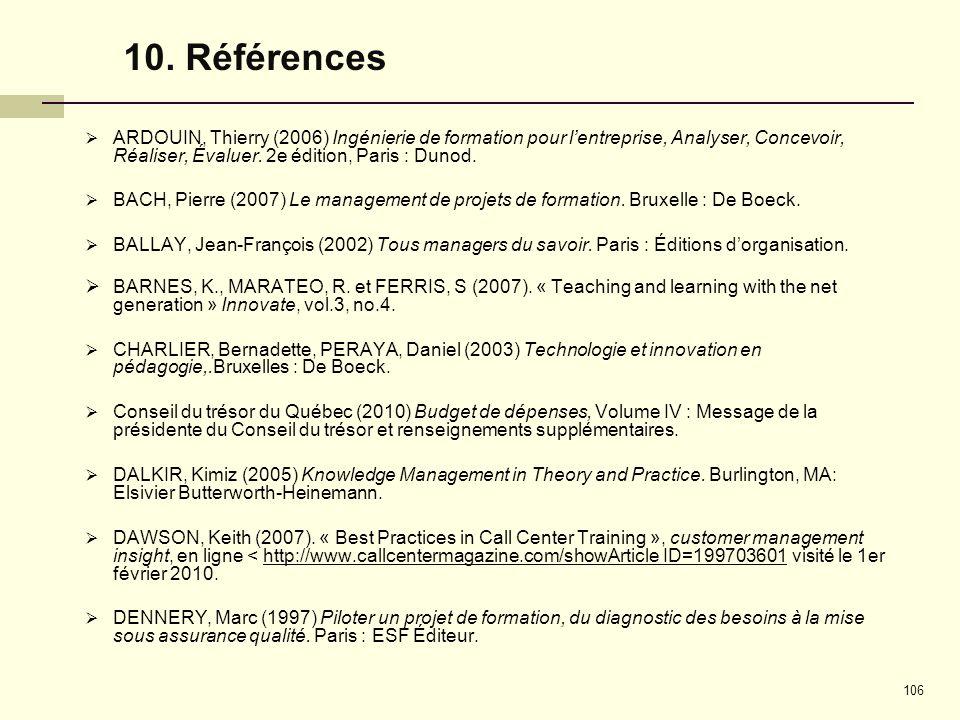 10. Références ARDOUIN, Thierry (2006) Ingénierie de formation pour l'entreprise, Analyser, Concevoir, Réaliser, Évaluer. 2e édition, Paris : Dunod.