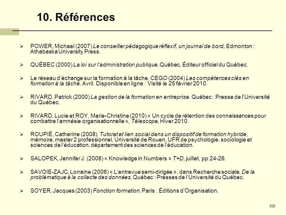 10. Références POWER, Michael (2007) Le conseiller pédagogique réflexif, un journal de bord, Edmonton : Athabaska University Press.