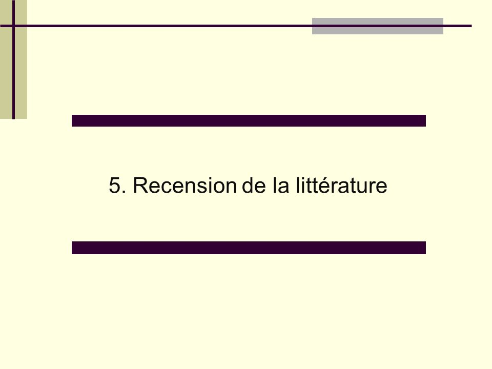 5. Recension de la littérature