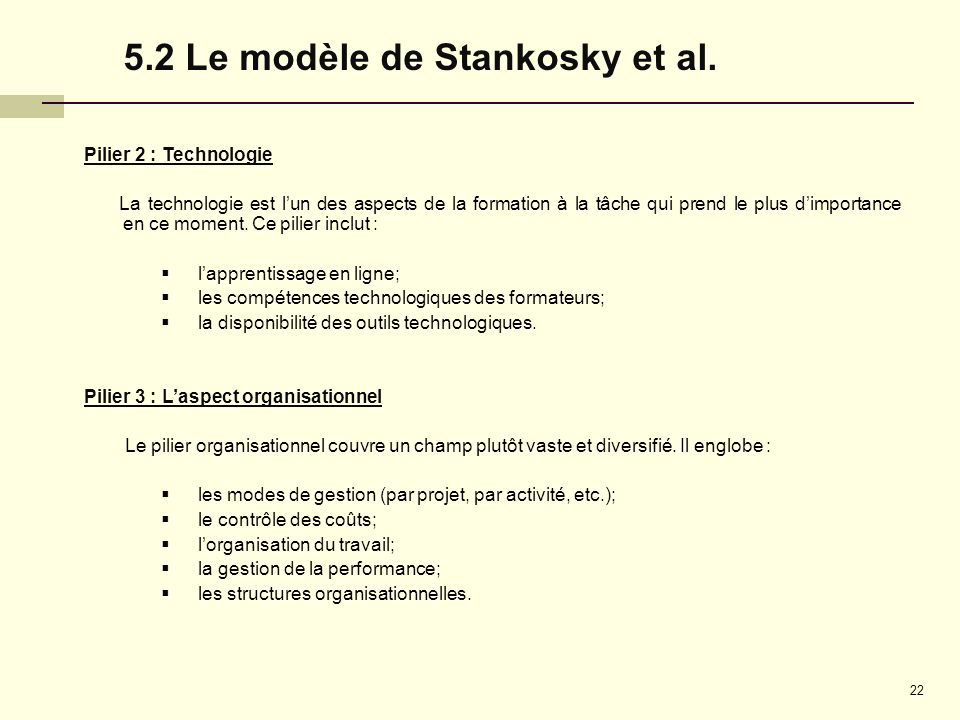 5.2 Le modèle de Stankosky et al.