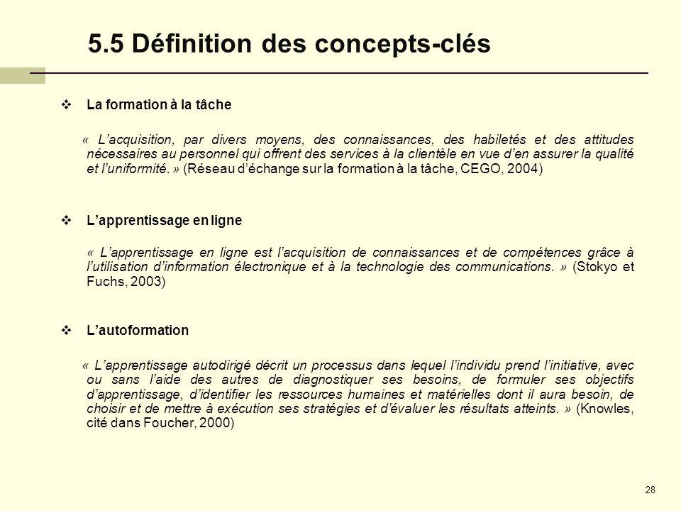 5.5 Définition des concepts-clés