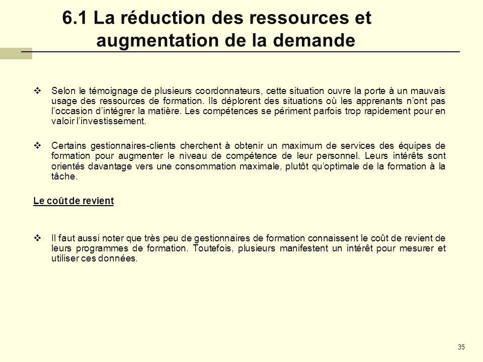 6.1 La réduction des ressources et augmentation de la demande