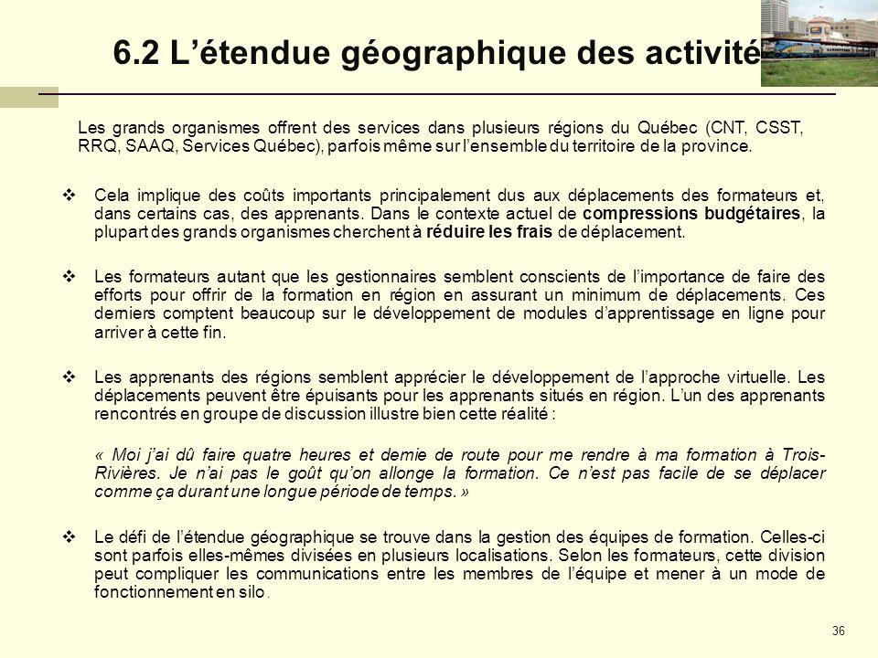 6.2 L'étendue géographique des activités