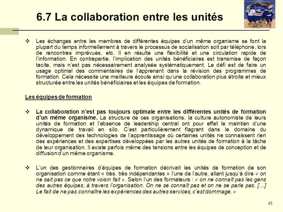 6.7 La collaboration entre les unités