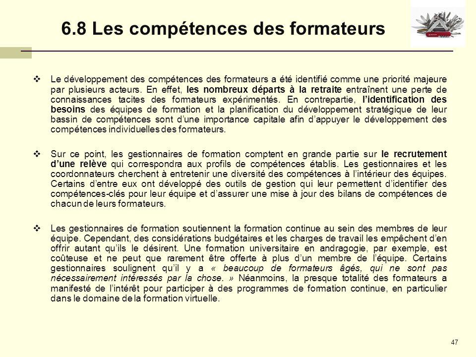 6.8 Les compétences des formateurs
