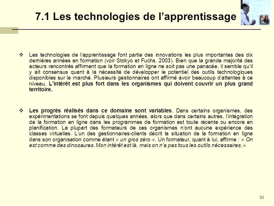 7.1 Les technologies de l'apprentissage