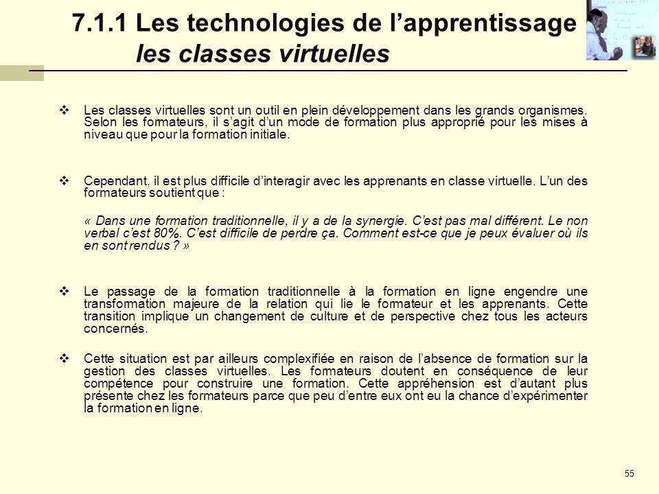 7.1.1 Les technologies de l'apprentissage : les classes virtuelles