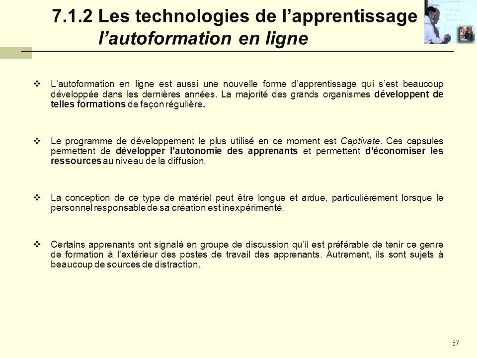 7.1.2 Les technologies de l'apprentissage : l'autoformation en ligne