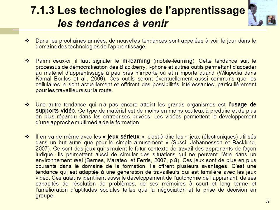 7.1.3 Les technologies de l'apprentissage : les tendances à venir