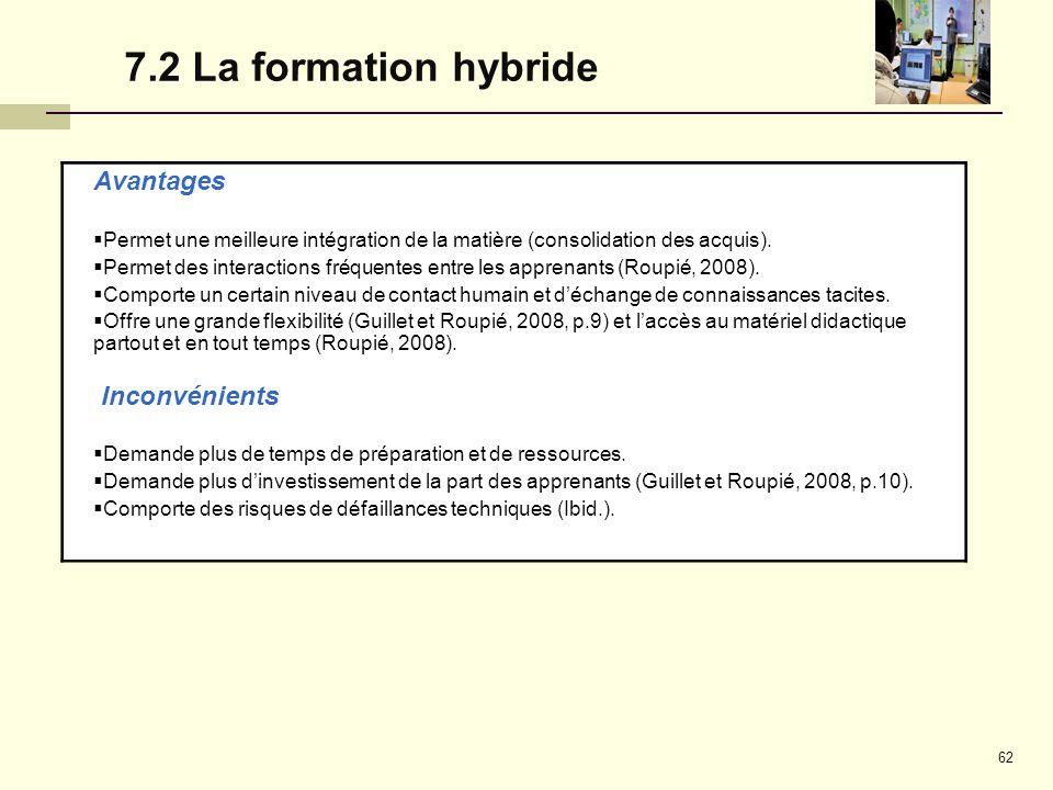 7.2 La formation hybride Avantages Inconvénients
