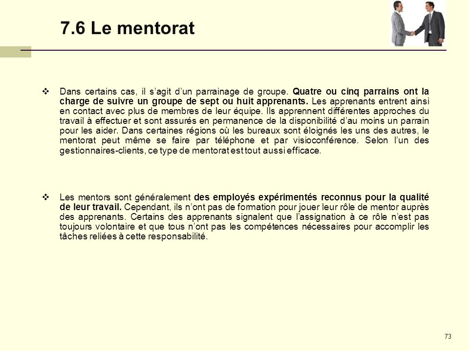 7.6 Le mentorat