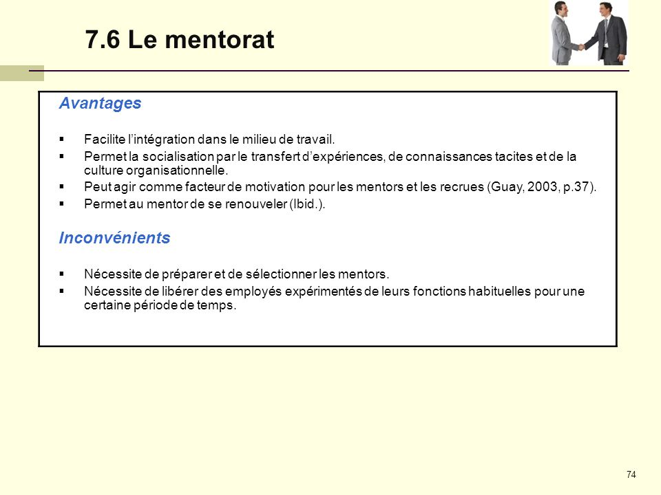 7.6 Le mentorat Avantages Inconvénients