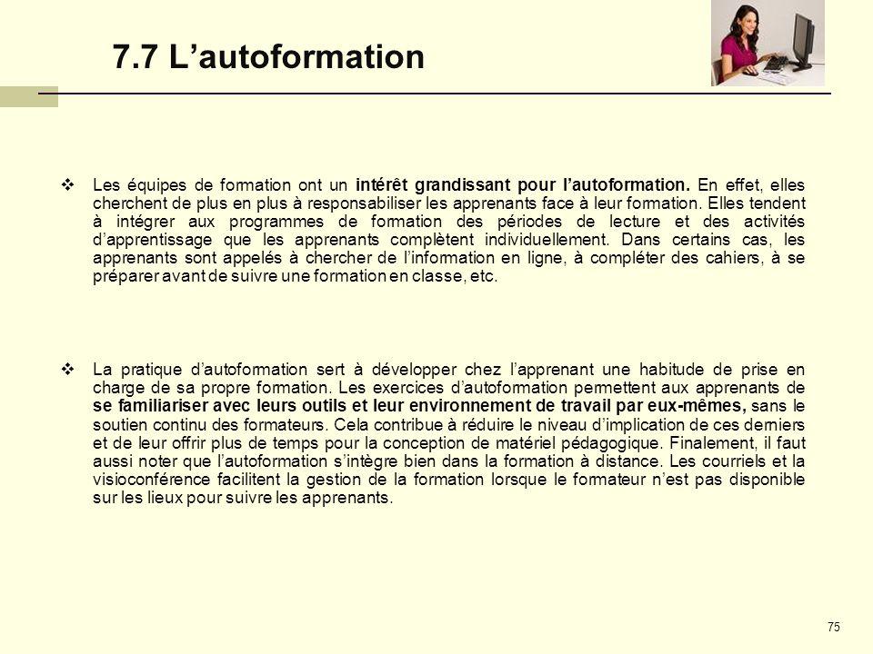 7.7 L'autoformation