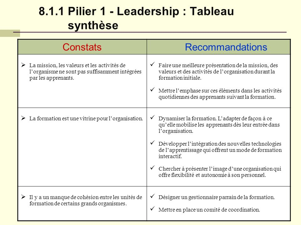 8.1.1 Pilier 1 - Leadership : Tableau synthèse