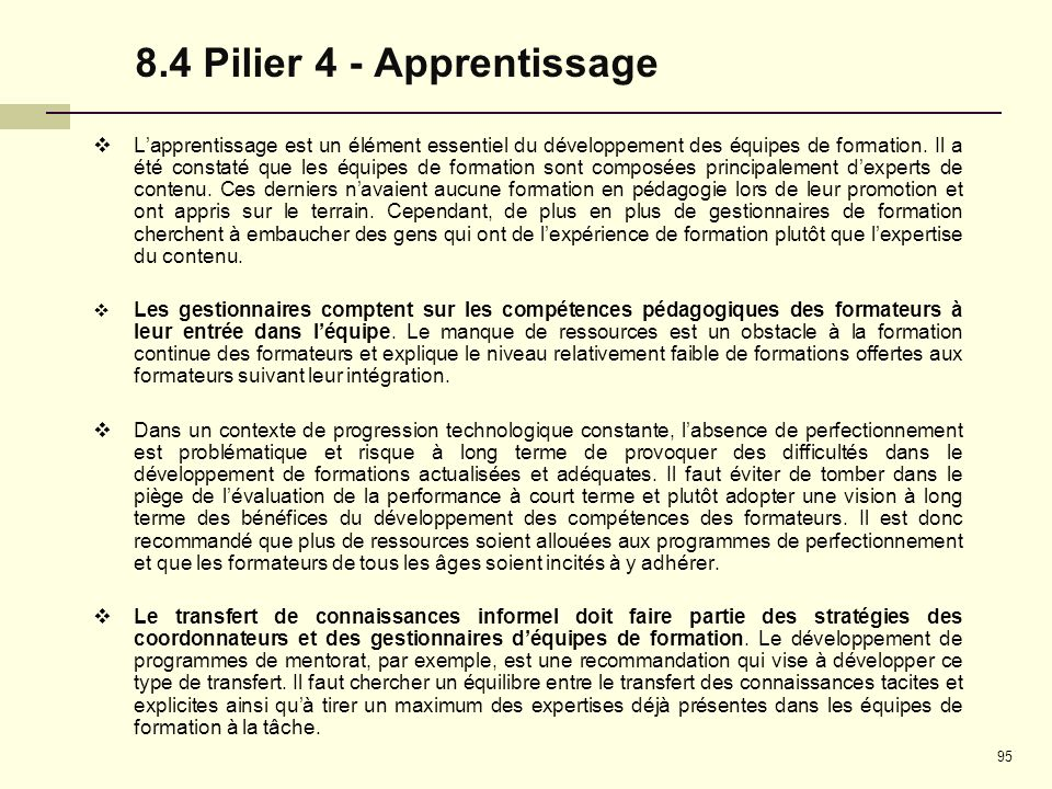 8.4 Pilier 4 - Apprentissage