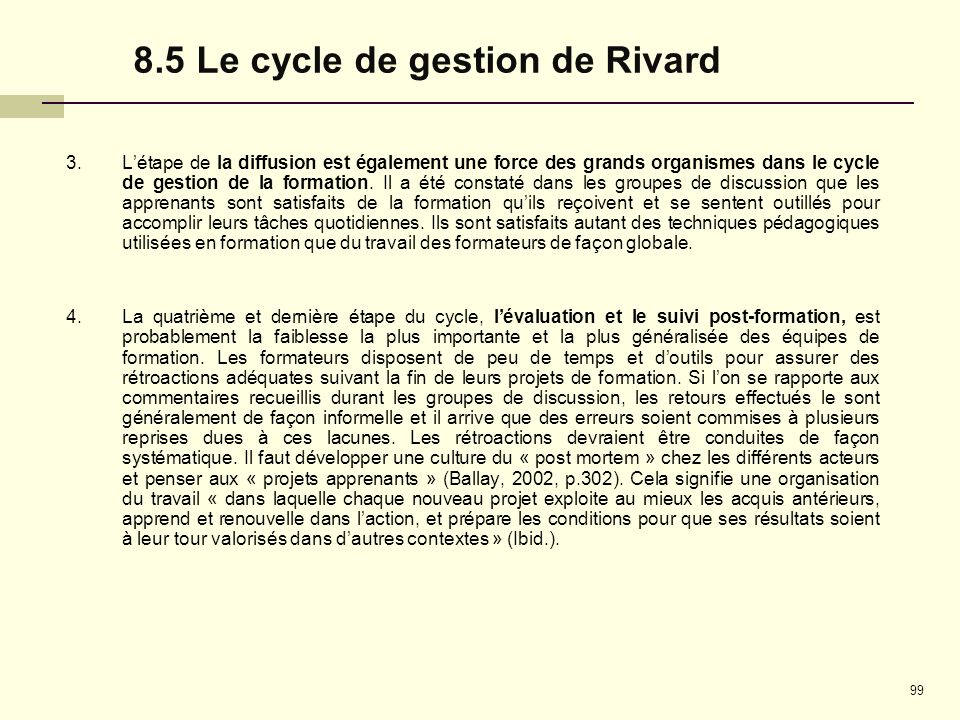 8.5 Le cycle de gestion de Rivard