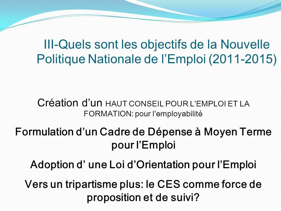 III-Quels sont les objectifs de la Nouvelle Politique Nationale de l'Emploi (2011-2015)