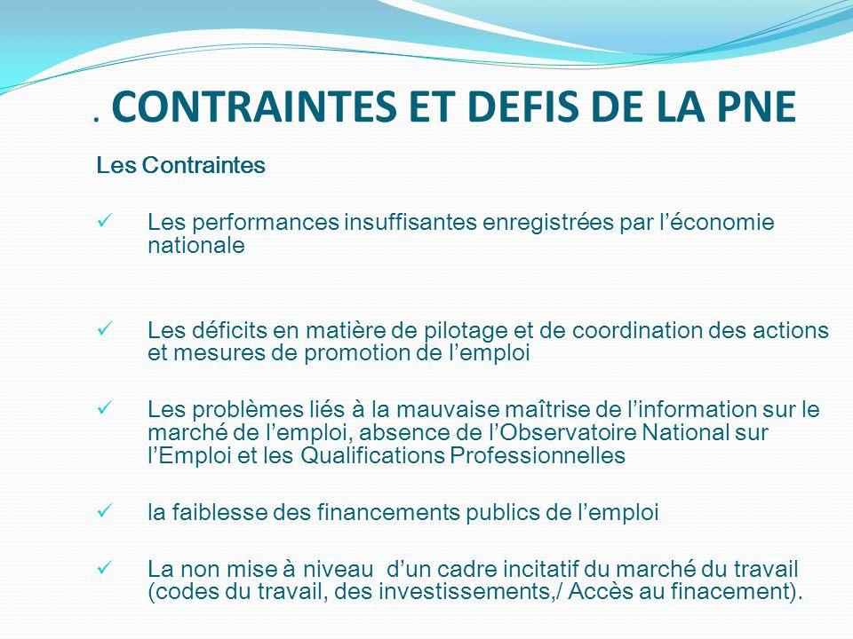 . CONTRAINTES ET DEFIS DE LA PNE