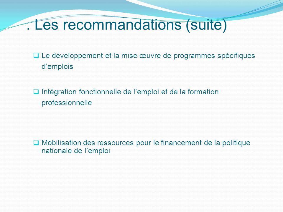 . Les recommandations (suite)