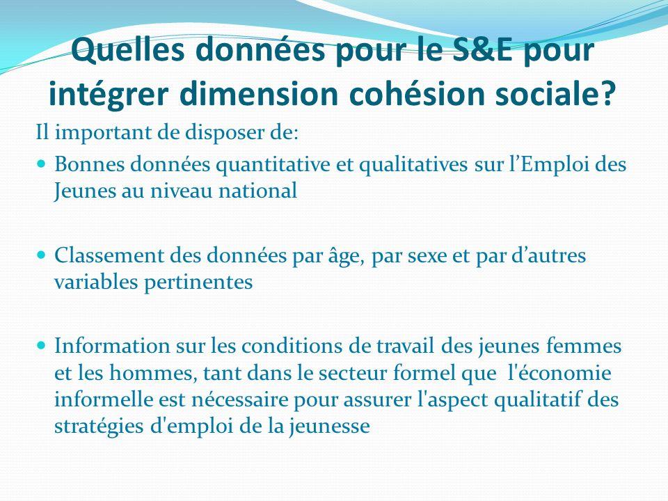Quelles données pour le S&E pour intégrer dimension cohésion sociale