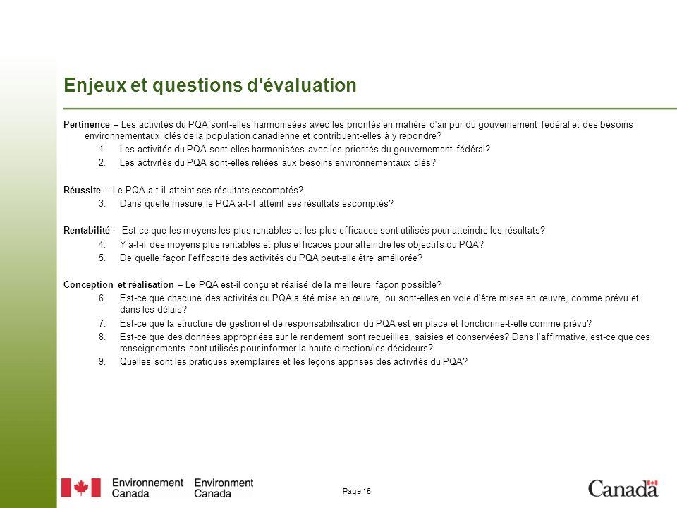 Enjeux et questions d évaluation