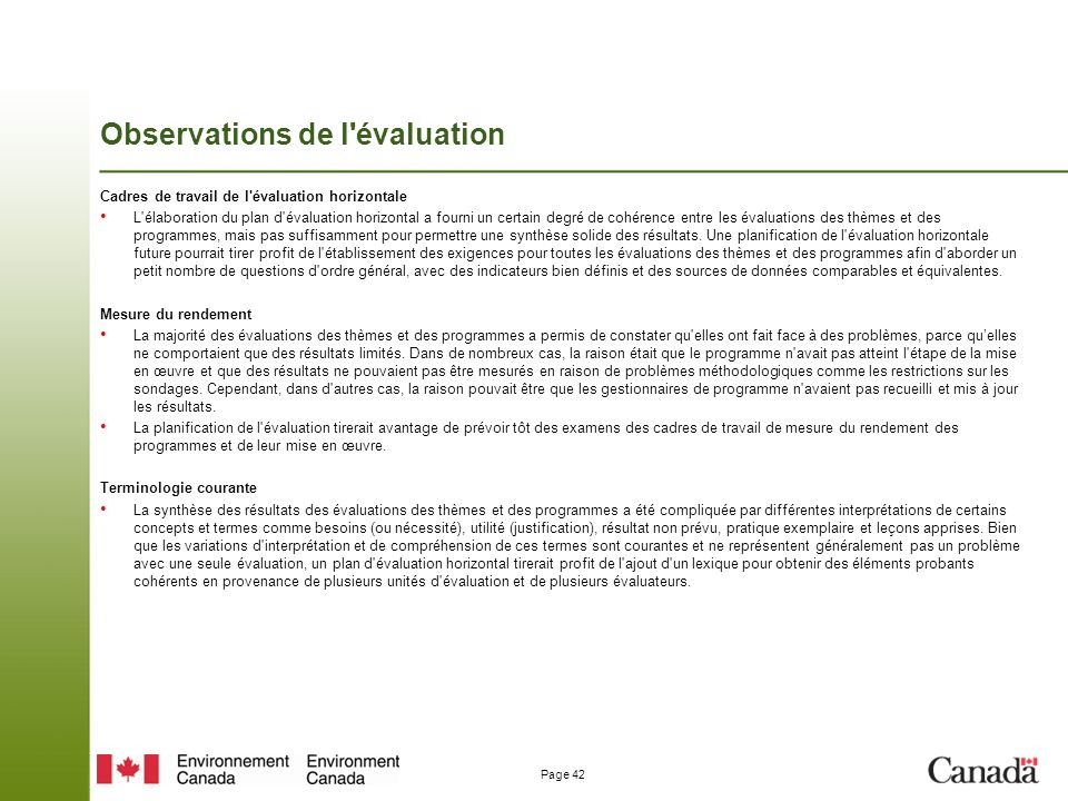 Observations de l évaluation