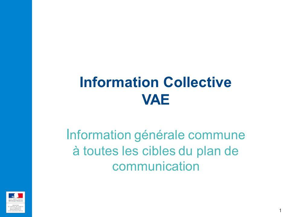 Information Collective VAE Information générale commune à toutes les cibles du plan de communication