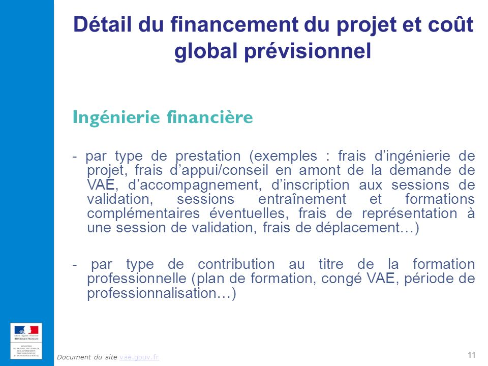 Détail du financement du projet et coût global prévisionnel