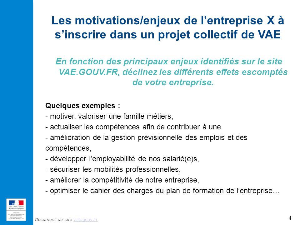 Les motivations/enjeux de l'entreprise X à s'inscrire dans un projet collectif de VAE
