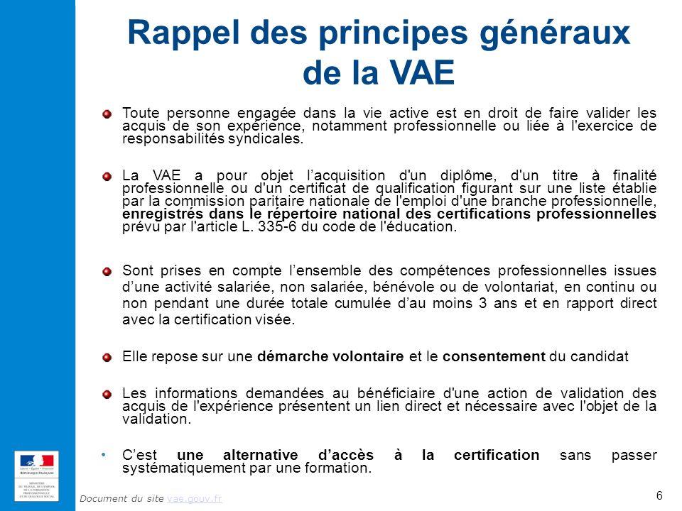 Rappel des principes généraux de la VAE
