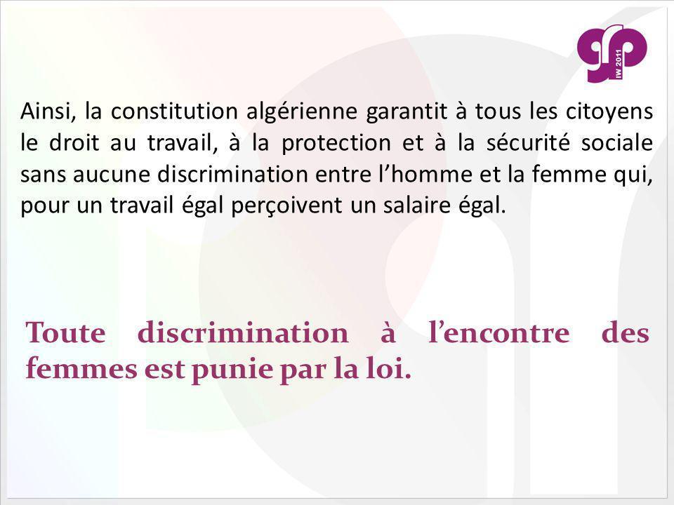 Toute discrimination à l'encontre des femmes est punie par la loi.