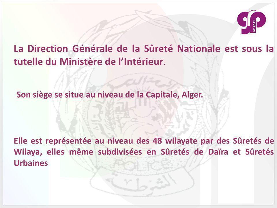 La Direction Générale de la Sûreté Nationale est sous la tutelle du Ministère de l'Intérieur.