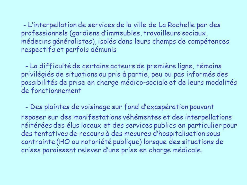 - L'interpellation de services de la ville de La Rochelle par des professionnels (gardiens d'immeubles, travailleurs sociaux, médecins généralistes), isolés dans leurs champs de compétences respectifs et parfois démunis - La difficulté de certains acteurs de première ligne, témoins privilégiés de situations ou pris à partie, peu ou pas informés des possibilités de prise en charge médico-sociale et de leurs modalités de fonctionnement - Des plaintes de voisinage sur fond d'exaspération pouvant reposer sur des manifestations véhémentes et des interpellations réitérées des élus locaux et des services publics en particulier pour des tentatives de recours à des mesures d'hospitalisation sous contrainte (HO ou notoriété publique) lorsque des situations de crises paraissent relever d'une prise en charge médicale.